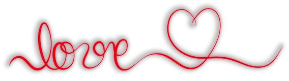 Single stroke red ribbon banner with word love and heart Royalty Free Stock Photos