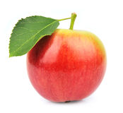 Single summer apple. With leavs on white Stock Images