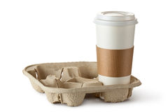 Single take-out coffee in holder Royalty Free Stock Photos