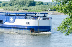 Single-tank boat on the Rhine. A tank ship on the Rhine at sea bush, it is designed for use on inland waters and inland waterways Royalty Free Stock Photos