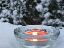 Candle light in winter Royalty Free Stock Photography