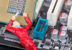 Single Technical Workman Fixing a Computer Royalty Free Stock Photography