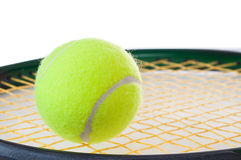 A single tennis ball on a tennis racket Stock Photography