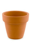 Single terracotta plant pot over white Stock Photo