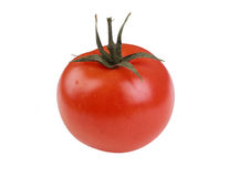 Single tomato. Tomato isolated on white background royalty free stock photo