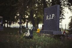 Free Single Tombstone With RIP Sign In Old Graveyard. Close Up Of Gravestone In Grass With Flower And Rest In Peace Text. Funeral Stock Images - 173230444