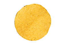 Single tostada shell on white Royalty Free Stock Photo