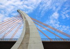 Single Tower of a Cable Stayed Royalty Free Stock Photos