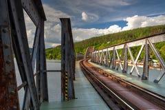 Single track railway bridge over the Vltava river Royalty Free Stock Photo