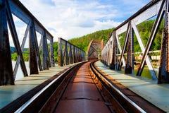Single track railway bridge over the Vltava river - HDR Image Royalty Free Stock Photos