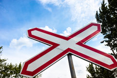 Single track railway crossing sign Stock Photography