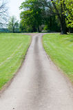 Single track road through a field. Narrow road through a meadow in the sunny countryside Royalty Free Stock Photos