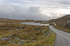 Single track road on scottish isle Royalty Free Stock Photos