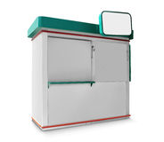 Single trade or promo counter kiosk. Against white background Royalty Free Stock Image