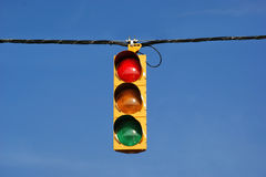 Single Traffic Light. Against blue sky background Stock Photos