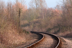 Single Train Track. In a countryside setting Stock Image