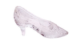 Single transparent crystal shoe royalty free stock photography