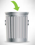 Single trash can with green arrow Stock Images
