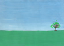 Single tree. On the horizon in the field. Painting in gouache on paper Royalty Free Stock Photography