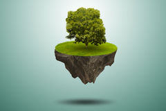 The single tree on floating island - 3d rendering Stock Photo