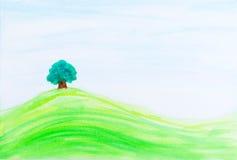 Single tree on green hill under blue sky. Stock Photos