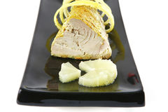 Single tuna served on plate Stock Photo