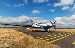 Single turboprop aircraft  on airport Pribram, 28th February 2014. Royalty Free Stock Photo