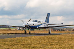 Single turboprop aircraft  on airport Pribram, 28th February 2014. Royalty Free Stock Photography