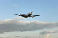 Single turboprop aircraft, landing aircraft Royalty Free Stock Photography
