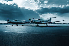 Free Single Turboprop Aircrafts Pilatus PC-12 NG On Airport Prague, Stock Photography - 85374242