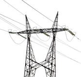 Single twin electrical steel pylon on white Royalty Free Stock Photography