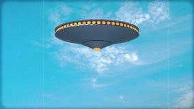 Single UFO fires deathrays (Color) stock footage