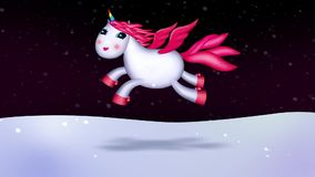 Single unicorn night flight in romantic landscape. Snow, wind, skies at night. Long seamless loop. Good for background, fairy tales, etc vector illustration