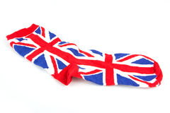 Single Union Jack sock on white Royalty Free Stock Images