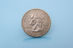 Single used quarter dollar Royalty Free Stock Photo