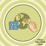Single vector color flat icon. House geo tagging. Royalty Free Stock Photos