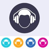 Vector round ear protection sign icon Royalty Free Stock Photo