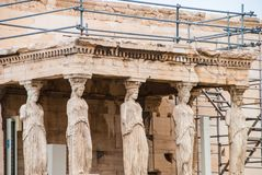 Caryatids in the Erechtheion temple on Parthenon, Athens Greece Stock Photo