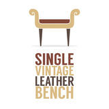 Single Vintage Leather Bench On White Background Royalty Free Stock Image