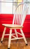 Single vintage white kitchen chair Stock Photo
