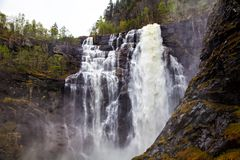 Single waterfall, north river, Norway Royalty Free Stock Image