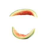 Single watermelon rind isolated. Over the white background, set of two different foreshortenings stock images