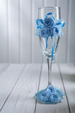 Single wedding ornatet empty wineglass Stock Image