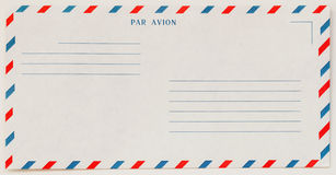 Single white Airmail Envelope Front , for background. Paper texture. With place your text. Concept of postal development. Single white Airmail Envelope Front Stock Photography