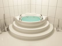 Single white bath in bathroom. Round construction of the bed Royalty Free Illustration
