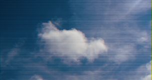 Single white cloud blue sky. View from below of perfect cloud in the blue sky - glitch transmission effect of distorted signal royalty free illustration