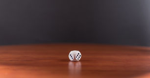 Single White Dice on Wood Stock Images