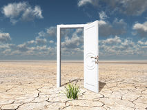 Single white door. Single open door in cracked desert with clump of grass Royalty Free Stock Image
