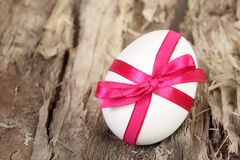 Single White Easter Egg on Wood Stock Photos