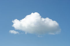 Single White Fluffy Cloud in Blue Sky Stock Photo